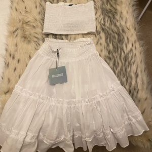NWT Missguided white tube top and skirt set, 6